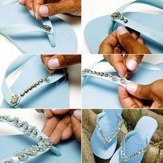 sandalias de goma azul que adorna con perlas de diamantes de imitación