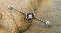 Glitter Opal Sun Industrial Barbell 14ga Surgical Stainless Steel Ear Barbell