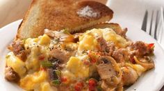 Early-day dining is a breeze with do-ahead scrambled eggs! Every bite is loaded with sausage, mushrooms, peppers and cheese.