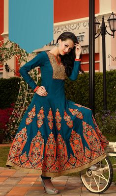 Teal Blue Embroidered Cotton and Satin Anarkali Suit Price: Usa Dollar $118, British UK Pound £69, Euro87, Canada CA$126 , Indian Rs6372.