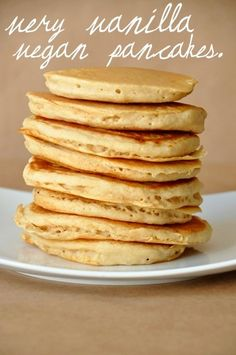 Very Vanilla Vegan Pancakes  I usually cannot make a good pancake to save my life and these were awesome! Perfectly golden and fluffy. The batter seemed really thick so I used 1 1/4c of milk (rice milk) and it worked great!