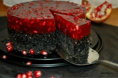 ... LoveAffair …: Brownie od crnog Sezama sa preljevom od Nara / Black Sesame Brownie with red Pomegranate jelly