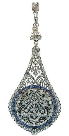 An exquisite Belle Époque sapphire, diamond and platinum pendant watch, by… Edwardian Jewelry, Antique Jewelry, Vintage Jewelry, Belle Epoque, Art Nouveau, Expensive Jewelry, Fantasy Jewelry, Or Antique, Jewellery Display