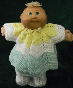 Ripple sweater & white footed pants for Cabbage Patch Doll.
