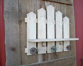 primitive Picket fence shelf w/ faucet handles