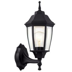 Hampton Bay 1-Light Black Dusk-to-Dawn Outdoor Wall Lantern-BPP1611-BLK - The Home Depot