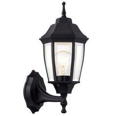 Hampton Bay 1-Light Black Dusk-to-Dawn Outdoor Wall Lantern-BPP1611-BLK - The Home Depot