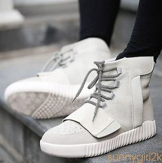 2017 NEW Korea Pop Mens Lace Up Flat Casual Sports Sneakers High Top Dance Shoes