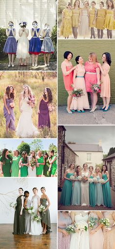 One Colour Different Shades Bridesmaid Dresses - love top left fifties style and brides bright shoes. #wedding #bridesmaids