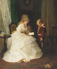 A Testing Question Frederick Morgan (English, Oil on canvas. Morgan painted portraits, animals, domestic and country scenes. He became famous for his idyllic genre scenes of. Victorian Paintings, Victorian Art, Ombres Portées, Art Ancien, Woman Reading, Reading Art, Mother And Child, Fine Art, Beautiful Paintings