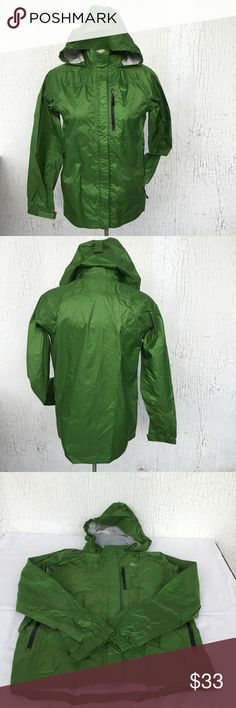 """REI Rain Jacket - SMALL PETITE REI Rain Jacket Forest Green Color TAG SAYS Large 14-16 (Boys) BUT CAN FIT Woman's Petite Small  Windproof and Waterproof * Zipped Pits * Adjustable & Non Removable Hood *Fleece-Lined Neckline * Adjustable elastic cuffs * Weatherproof front zipper * 3 Zippered pockets * Dropped tail extends rear coverage  100% Nylon; Colar Facing: 100 Polyester   APPROX MEASUREMENTS LAYING FLAT  Shoulder: 17"""" Chest: 18.5"""" Arm/Sleeves: 22"""" Length: 24"""" (front); 27"""" (back) REI…"""