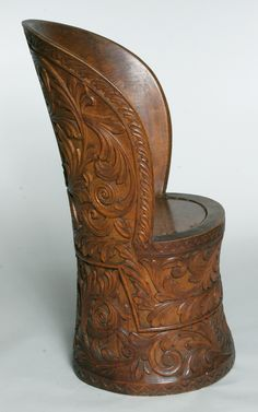 "** Norwegian ""kubbestol"" with acanthus carving, 1900."