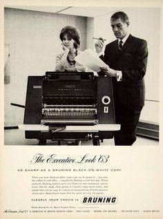 1962 Ad Vintage Bruning Copyflex Office Copier Copy Mad Men Executive Secretary