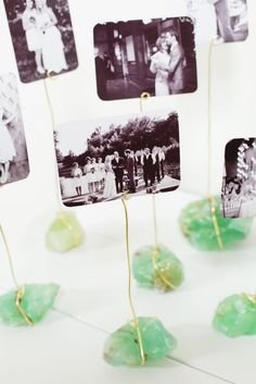 Display your favorite wedding photos with this DIY mineral photo display.