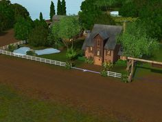 57 Walnut Fields large barn with 4 horses stable and loft above - Sims 3 Downloads CC Caboodle