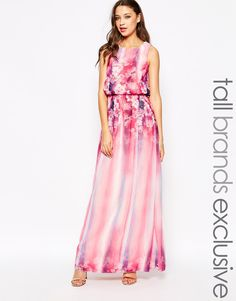 Image 1 of Little Mistress Tall Floral Printed Maxi Dress With Keyhole Back