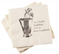 Derby Tradition to be in Mint Condition - Paper Beverage Napkins - Pkg/16 Kentucky Derby Party - Paper Napkins at Horse and Hound Gallery