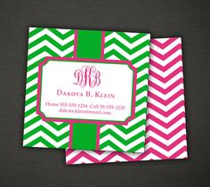 Personalized Stationery Preppy Chevron and Monogram by IDesignThat, $29.99