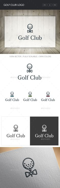 Golf Club Logo (AI Illustrator, Resizable, CS, ball, bow tie, club, course, field, flag, golf, golf club, golf resort, golf shop, golfing, green, hipster, hole, land, modern, sport, style, tournament)