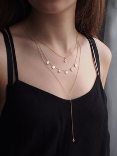 Delicate Gold Layered Necklaces/ Set of 3, Dainty CZ Drop Necklace, Multi Circle Tag Necklace & Minimalist CZ Drop Lariat Y Necklace