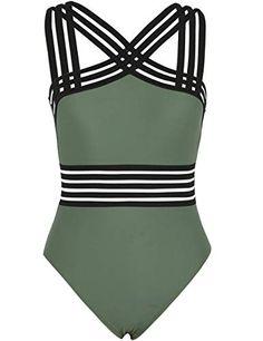 2b1b67392cd Hilor Women's One Piece Swimwear Front Crossover Swimsuit... https://www