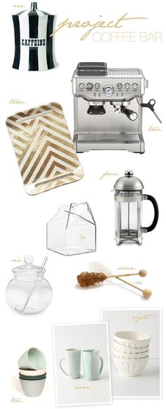 Everything you need to build a super chic, super snazzy coffee bar. Complete with a recipe for chocolate chip banana muffins… perfect accompaniment. Coffee Bar Station, Tea Station, Sugar Jar, Sugar Bowl, Banana Chocolate Chip Muffins, Coffee Corner, Coffee Shop, Coffee Bars, Coffee Drinks