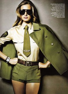 Take some direction from Gisele for your military inspired fashion ensemble.