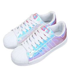 Holographic Sneakers ($47) ❤ liked on Polyvore featuring shoes, sneakers, holographic trainers, holographic sneakers and holographic shoes