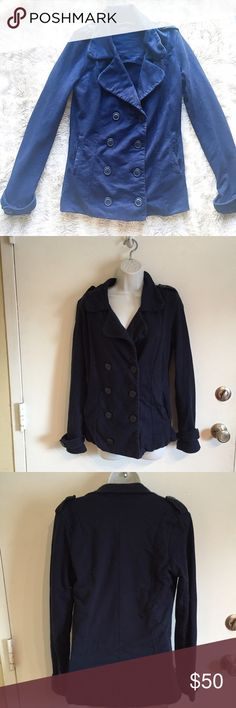 Lucky Brand Pea Coat Navy blue Peacoat from Lucky Brand. Size small. Soft and comfortable. #navy #blue #luckybrand #peacoat #lucky #small #buttons #cotton #punkydoodle  No modeling  Smoke and pet free home I do discount bundles Lucky Brand Jackets & Coats Pea Coats