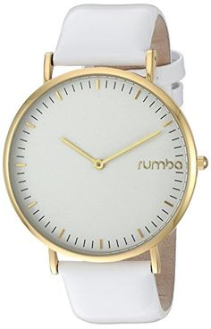 RumbaTime Women's 'SoHo Patent Leather' Quartz Metal Casual Watch, Color:White (Model: 24777) >>> Read more reviews of the product by visiting the link on the image.