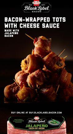 Buy BLACK LABEL® Jalapeño Bacon online at Buy.BlackLabelBacon.com. Bacon Recipes, Appetizer Recipes, Mexican Food Recipes, Snack Recipes, Cooking Recipes, Snacks, Yummy Recipes, Recipies, Heath Food