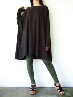 NO.62    Charcoal Cotton Jersey Oversized T-Shirt/Tunic Dress