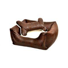 Meravigliosa cuccia in ecopelle invecchata, con cuscino estraibile, per cani e gatti, disegnata e realizzata in Toscana.