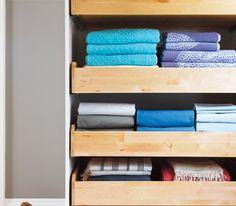 Freestanding linen storage from ikea.