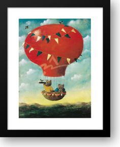 Teddy-in-Hot-Air-Balloon-15x18-Framed-Art-Print-by-Mackey-Stephen