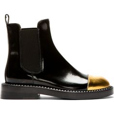 Marni Black Leather Gold Toe Chelsea Boots (1.285 BRL) ❤ liked on Polyvore featuring shoes, boots, ankle booties, beatle boots, chelsea boots, leather boots, round toe boots and black boots