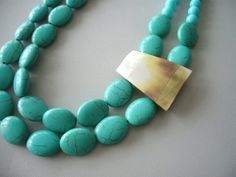 Turquoise statement necklace by stavri on Etsy