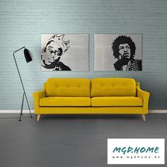 mobile Wandgestaltung in Betonoptik Popart Kunstwerk Bild Biggie Hendrix Sofa, House Styles, Furniture, Shopping, Home Decor, Room Interior Design, Artworks, Interior, Homes