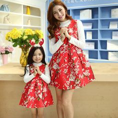 2016 New Autumn and Winter Mother and Daughter Printed Dress mother and daughter dress family look