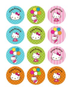 12 Hello Kitty Party Collection Edible Rice Wafer Paper Cupcake Toppers