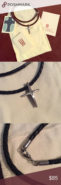 host pick James Every Leather Cross Necklace This is a perfect gift for someone you love! (Or for you!) This black leather chain with silver cross pendant has never been worn! It comes with the box and care instruction cards! James Avery Jewelry Necklaces