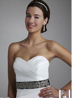 736655128af Amazon.com  David s Bridal Heavily Beaded Sash Style G21600