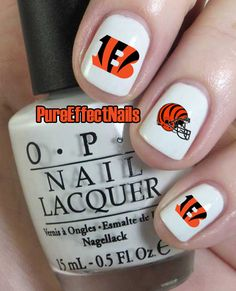 Cincinnati Bengals Nail Decals by PureEffectNails on Etsy, $4.00