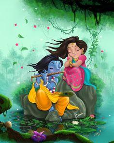 The original character design by Mr. Colour in digital by me. Radha Krishna Songs, Lord Krishna Images, Radha Krishna Pictures, Radha Krishna Photo, Krishna Art, Shree Krishna, Radha Krishna Paintings, Krishna Quotes, Little Krishna
