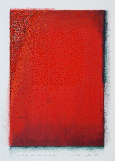 D-6.Feb.2011 Emittings 徐々に外へ 32x31cm mixed media painting on paper HAYASHI Takahiko 林孝彦