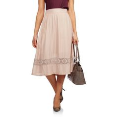 7bd4686c09af French Laundry - Women s Woven Midi Skirt With Lace Inset - Walmart.com