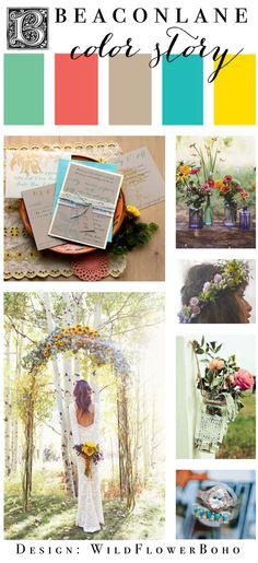 Boho Wedding Invitation Color Story