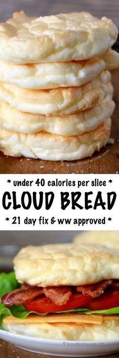 Cloud Bread is an easy to make, light and fluffy bread substitute. These are low carb, under 40 calories each and the perfect way to lighten up a sandwich! Perfect for Weight Watchers and 21 Day Fix a (Low Carb Dinner Meals) No Calorie Foods, Low Calorie Recipes, Ww Recipes, No Carb Diets, Cooking Recipes, Recipies, Low Calorie Bread, Low Calorie Baking, Low Calorie Fast Food