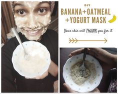 DIY Glowing and Healthy Beauty Mask with Banana, Yogurt and Oats