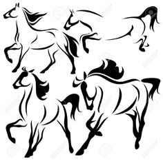 Vector Set Of Fine Horses Outlines Royalty Free Cliparts, Vectors ...